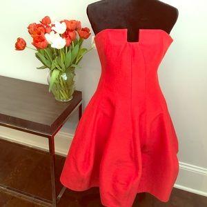 Red strapless mini